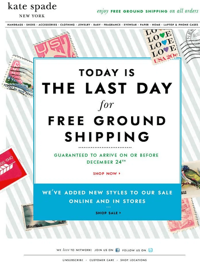 shipping deadline email example