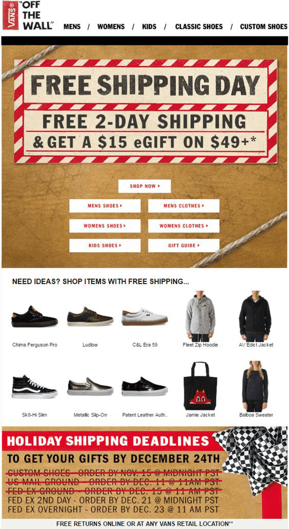 vans email for free shipping day