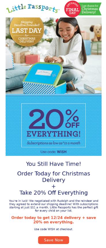 holiday shopping shipping cutoff reminder email