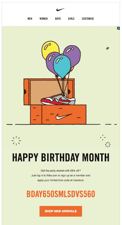 birthday card from nike