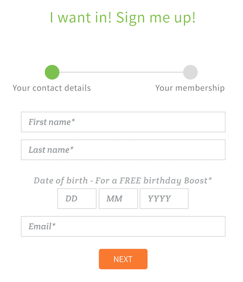 birthday email signup form example