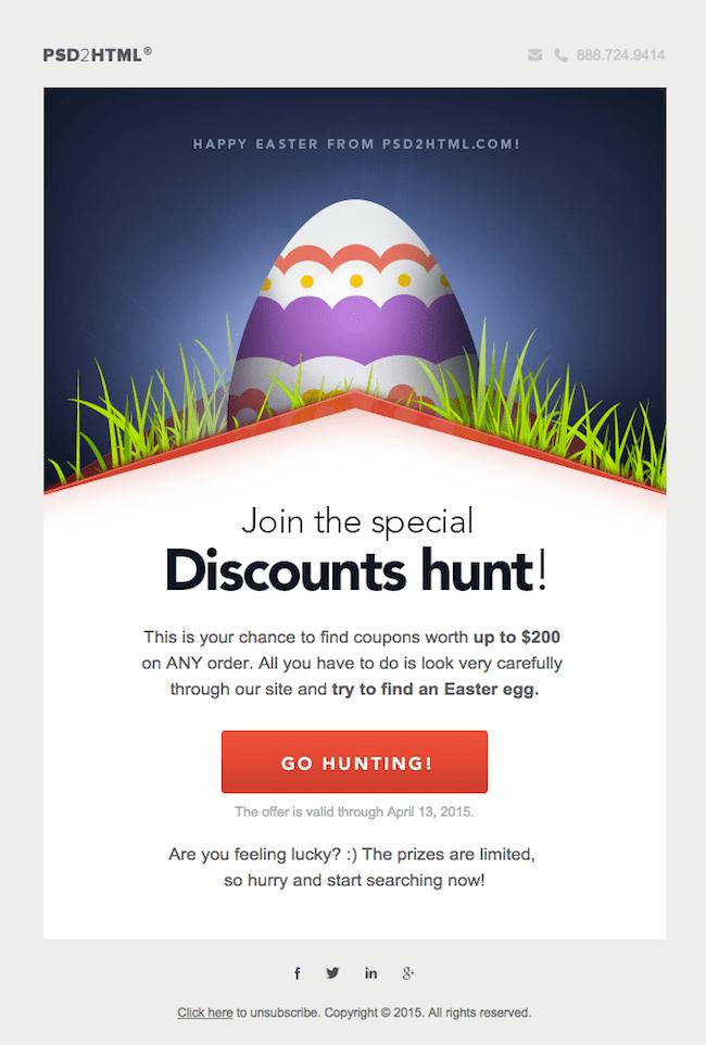 easter bunny email egg hunt