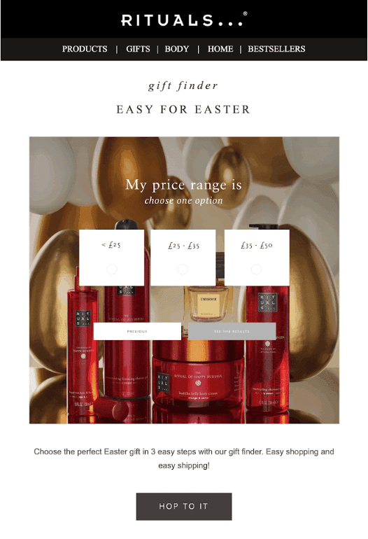easter deal email campaign