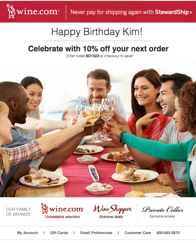 example of a birthday email campaign