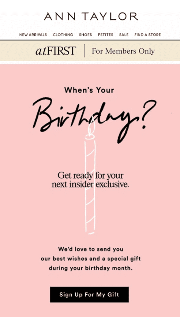 when is your birthday request email