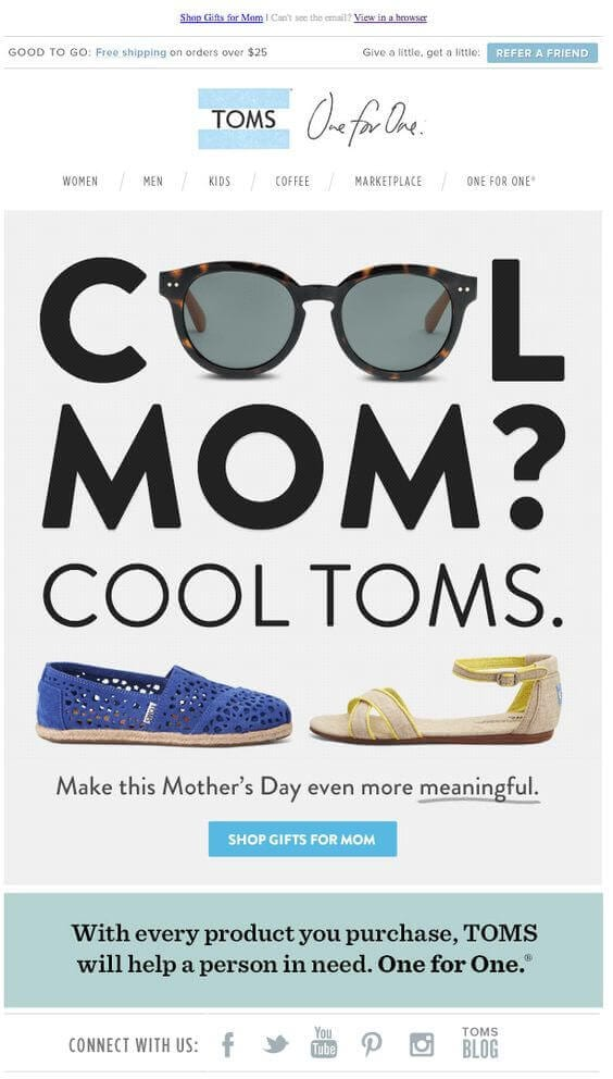 typical mothers day email example