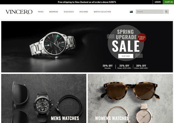 vincero shopify store
