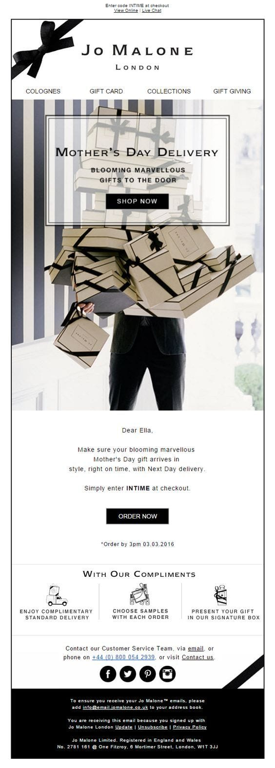 jo malone mothers day email