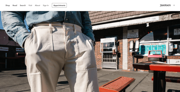 3sixteen shopify apparel store