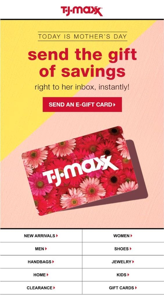 egiftcard email example