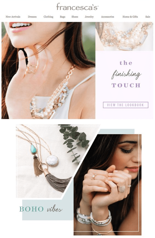 example of a jewelry email campaign