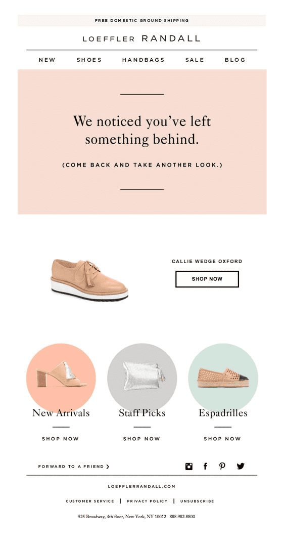 loeffler randall example email campaign