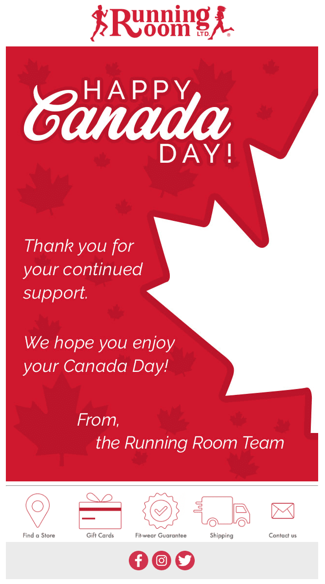 running room happy canada day email