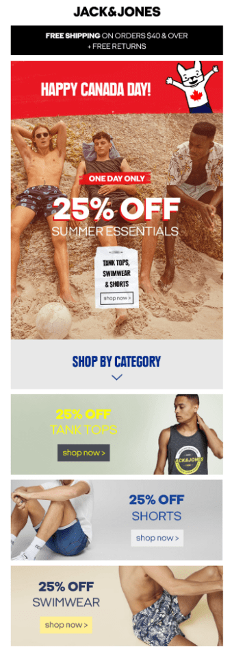 jack and jones holiday email sale campaign