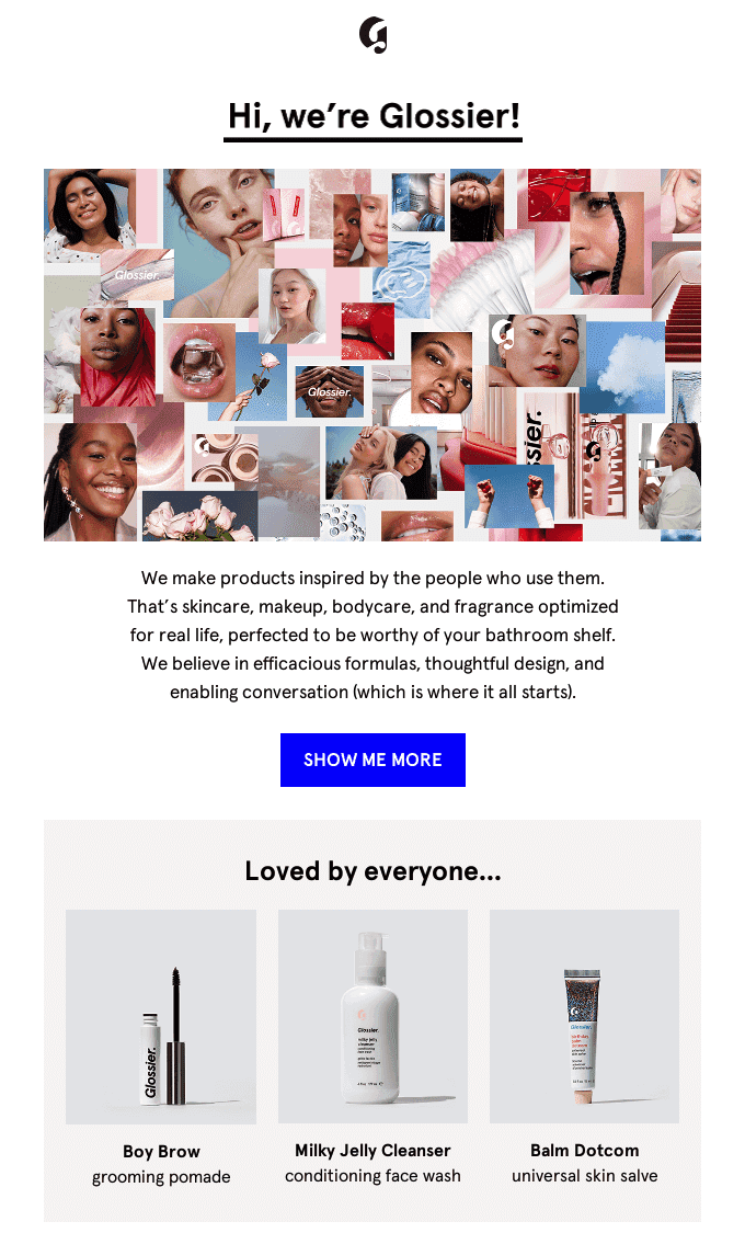 welcome email with personalized product recommendations